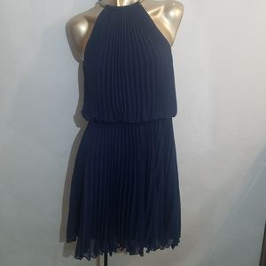 XSCAPE navy blue pleated halter cocktail dress
